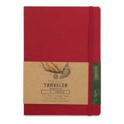 Pentalic Recycled Traveler's Sketchbook - 8-1/4'' x 5-7/8'', Red