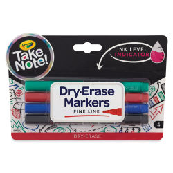 Crayola Take Note Dry-Erase Markers - Assorted Colors, Fine Tip, Set of 4