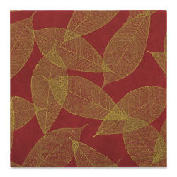 "Black Ink Screenprinted Leaves Mulberry Decorative Paper - Scarlet, 12"" x 12"""