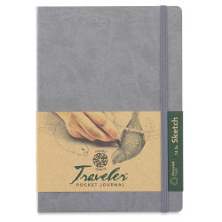 Pentalic Recycled Traveler's Sketchbook - 8-1/4'' x 5-7/8'', Metallic Silver