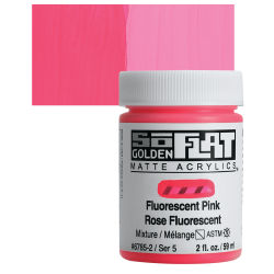 Golden SoFlat Matte Acrylic Paint - Fluorescent Pink, 59 ml, Jar with Swatch
