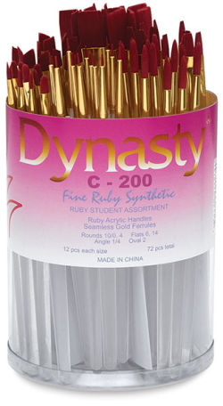 Fine Ruby Synthetic Brushes, Canister Set of 72