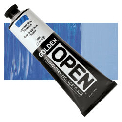 Golden Open Acrylics - Cerulean Blue Chromium, 5 oz, Tube with Swatch