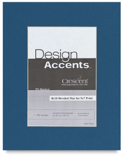 Crescent Pre-Cut Mat - Bottle Blue, 8'' x 10'' (4-1/2'' x 6-1/2'' Opening)