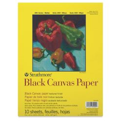 Strathmore 300 Series Canvas Paper Pad - Black, 9'' x 12'', 10 Sheets