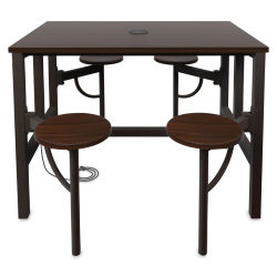 OFM Endure Tables with Attached Stools - 4 Seats, Walnut Top, Walnut Seats, 48'' L