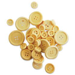 Krafty Kids Wood Craft Buttons - Natural, Package of 40 (Out of packaging)