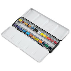 Winsor & Newton Professional Watercolor Half Pans - Blick Exclusive! Lightweight Sketchers' Box Half Pan Set of 24. Package open.