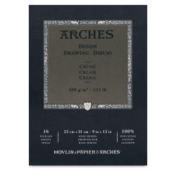 Arches Drawing Paper Block - 9'' x 12'', Cream, 16 Sheets
