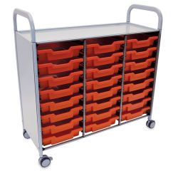 Gratnells Callero Plus Cart - Treble Cart, 24 Shallow F1 Trays, Flame Red