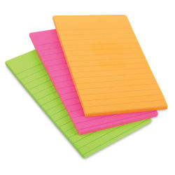 3M Post-it Super Sticky Notes - 4'' x 6'', World of Color Collection, Lined, Pkg of 3