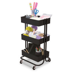 Darice 3-Tier Rolling Carts - Matte Black (Supplies not included)