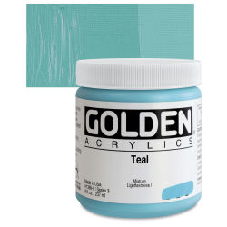 Golden Heavy Body Artist Acrylics - Teal, 8 oz Jar