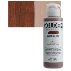 Golden Fluid Acrylics - Burnt Sienna, 4 oz bottle