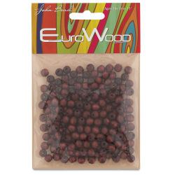 John Bead Euro Wood Beads - Mahogany, Round, 6 mm, Pkg of 200
