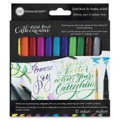 Manuscript Aqua Brush Markers - Set of 12
