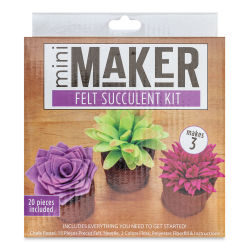 Leisure Arts Mini Maker Felt Succulent Kit - Purple/Pink (Front of packaging)
