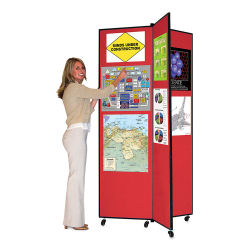 Screenflex Mobile Display - 6 ft 5'', Red, 3 Panel