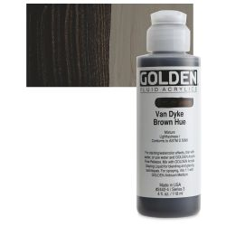 Golden Fluid Acrylics - Van Dyke Brown Historical Hue, 4 oz bottle