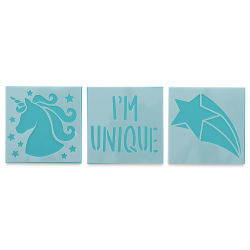 Plaid Fabric Creations Adhesive Stencil - Unicorn, 3 Stencils, 3'' x 3''