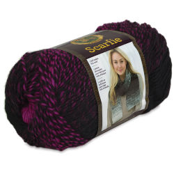 Lion Brand Scarfie Yarn - Black/Hot Pink