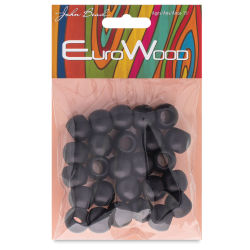 John Bead Euro Wood Beads - Black, Round, Large Hole, 14 mm x 11mm, Pkg of 25