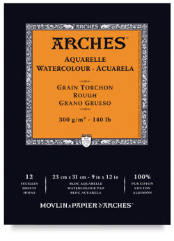 Arches Watercolor Pad - 9'' x 12'', 140 lb, Rough, Fold-over, 12 Sheets
