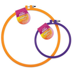 "Susan Bates Hoop-La Embroidery Hoops (10"" Orange and 6"" Purple hoops shown.)"