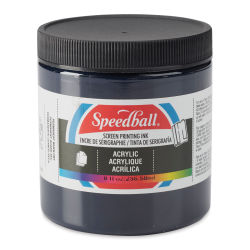 Speedball Permanent Acrylic Screen Printing Poster Ink - Dark Blue, 8 oz