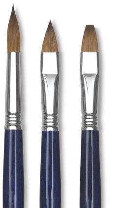 Escoda Optimo Kolinsky Sable Brush - Bright, Long Handle, Size 0