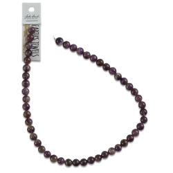 John Bead Semi-Precious Beads - Dark Amethyst, 8 mm, 16'' Strand