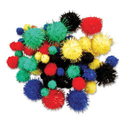 Krafty Kids Tinsel Pom Poms - Primary, Package of 75