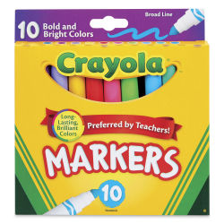 Crayola Broad Line Markers-Set of 10 Assorted Colors Outside of package