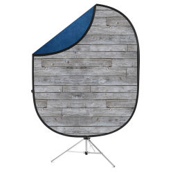 Savage Reversible Collapsible Backdrop Kit - Gray Pine and Navy Pine, 5' x 7'