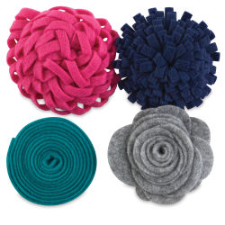 Hampton Art Felt Flowers - Touch of Teal, Pkg of 4
