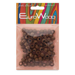 John Bead Euro Wood Beads - Coffee, Round, Large Hole, 8 mm x 6.5 mm, Pkg of 100