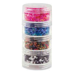 "Craft Medley Screw Stack Canisters - 4 Compartments, 2"" H x 1"" W (Shown with beads)"