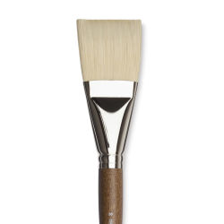 Winsor & Newton Artists' Oil Synthetic Hog Brush - Flat, Size 20, Long Handle (close-up)