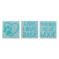 Plaid Fabric Creations Adhesive Stencil - Dog, 3 Stencils, 3'' x 3''