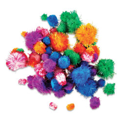 Krafty Kids Tinsel Pom Poms - Glitter, Package of 75