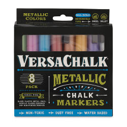 VersaChalk Liquid Chalk Markers - Set of 8, Metallic Colors, Bold