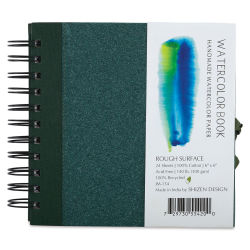 Shizen Watercolor Journal - 6'' x 6'', Cold Press, Green Cover