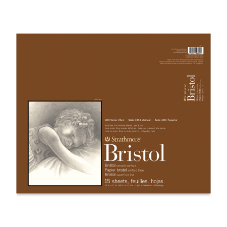 Strathmore Bristol Pad - 14'' x 17'', 2 Ply, Smooth, 15 Sheets