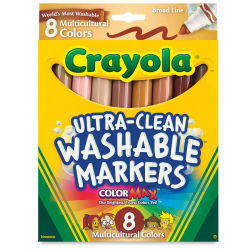 Crayola Ultra-Clean Washable Marker Set - Multicultural Colors, Broad Tip, Set of 8