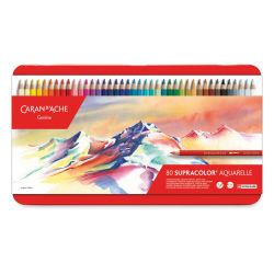 Caran d'Ache Supracolor Soft Aquarelle Pencil Set - Assorted Colors, Set of 80