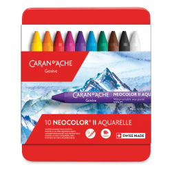 Caran d'Ache Neocolor II Artists' Crayon Set - Assorted Colors, Set of 10. In package.