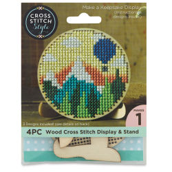 Cross Stitch Style Wood Cross Stitch Display and Stand - Round, 3''