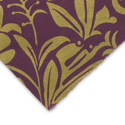 Black Ink Screenprinted Mulberry Paper - Moonflower, Plum with Gold