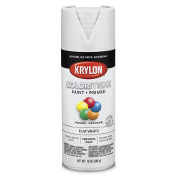 Krylon Colormaxx Spray Paint - White, Flat, 12 oz