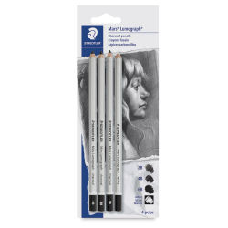 Staedtler Mars Lumograph Charcoal Pencils - Set of 4